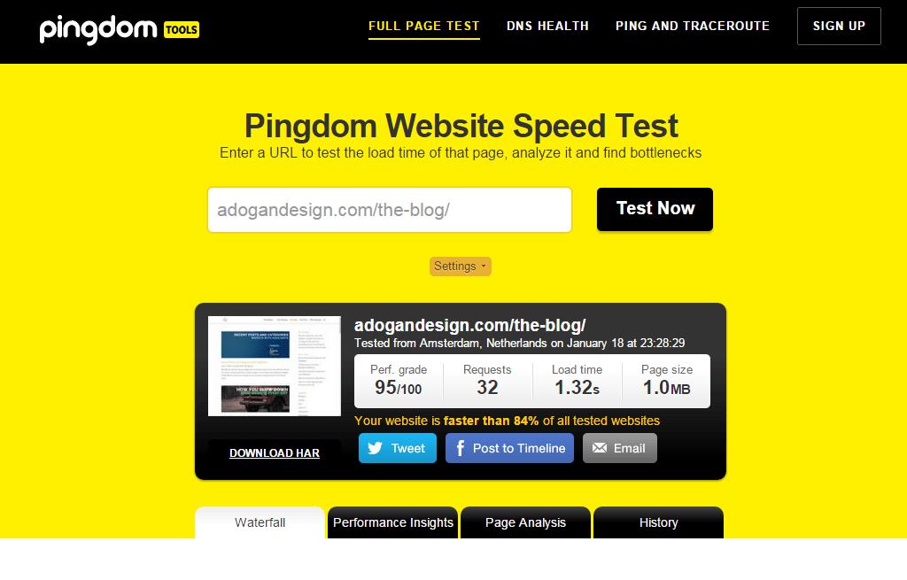 Pingdom page speed tool